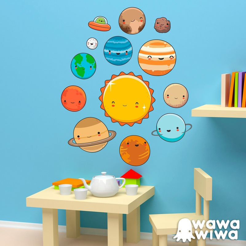 Vinilo infantil kit planetas del espacio Decoracion de espacios de preescolar