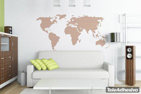 Vinilo mapamundi punteado for Vinilo mapa del mundo